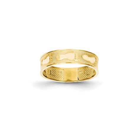 Solid 14k Yellow Gold Footprints In The Sand Ring (5mm) - Size 4