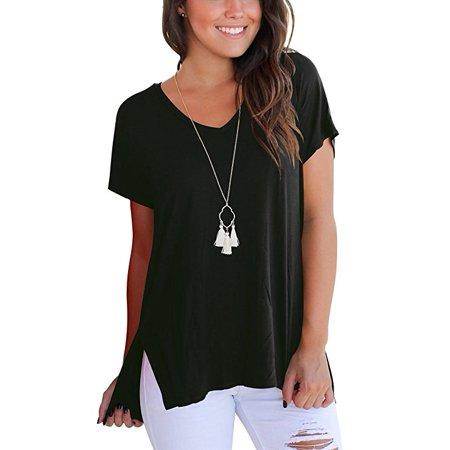 Supernova Split Short (Women's Short Sleeve High Low Loose T Shirt Basic Tee Tops with Side Split )