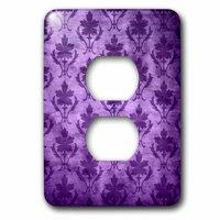 3dRose Vintage Wallpaper Pattern Purple - 2 Plug Outlet Cover (lsp_30058_6)