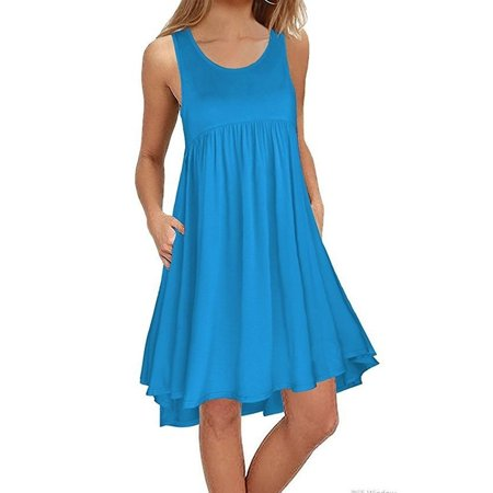 Women Fashion Round Neck Sleeveless Tank Dress Casual Solid Color Pleated Pockets Beach Dress Loose Swing T Shirt (Solid Pleated Dress)