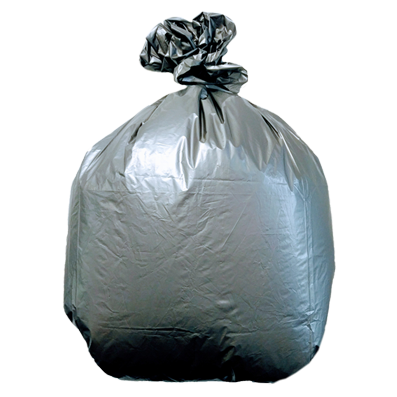 Plasticplace 33 Gallon Low Density Trash Bags - Silver, case of 100 bags