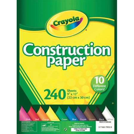 Crayola Construction Paper Pad with 10 Colors, 240 Sheets