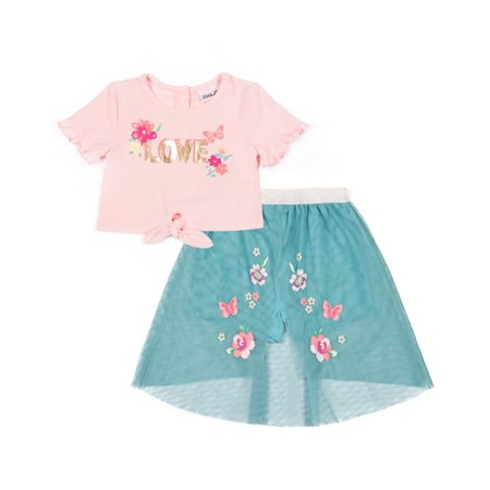 Love Yummy Tie Front Top and Walk-thru Skirt, 2-Piece Outfit Set (Little