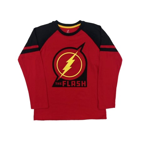 DC Comics Boys Red & Black The Flash T-Shirt Long Superhero Tee Shirt