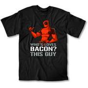 Deadpool Loves Bacon Men's Black T-Shirt, Small