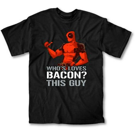 Deadpool Loves Bacon Men's Black T-Shirt - Lady Deadpool