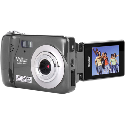 "Vivitar iTwist X018 10.1MP Digital Camera, Silver w/ 1.8"" LCD Swivel Display, Anti-Shake Mode"