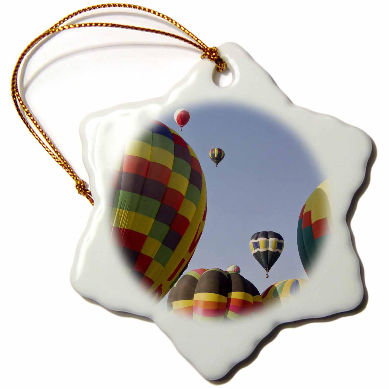 Supplier Generic 3d Rose Albuquerque Hot Air Balloon, New Mexico, Usa  -  Us 32 Wsu 0019  -  William Sutton, Snowflake Ornament, Porcelain, 3 - inch