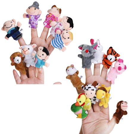 18pcs Educational Toys Finger Puppets Story Time Finger Puppets 12 Animals & 6 People Family Members Play House Accessories