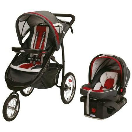 Graco FastAction Fold Jogger Jogging Baby Stroller w/ Infant Car Seat Travel Set