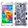 Insten European Flowers Hard Hybrid Rubberized Silicone Cover Case For Samsung Galaxy Grand Prime - Purple/White