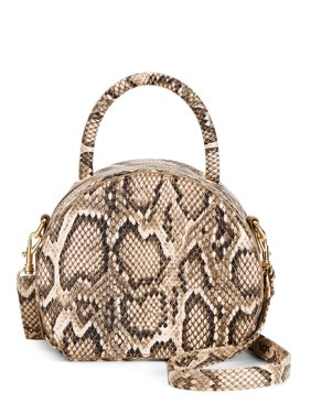Chateau Tan Faux Snake Round Canteen Crossbody