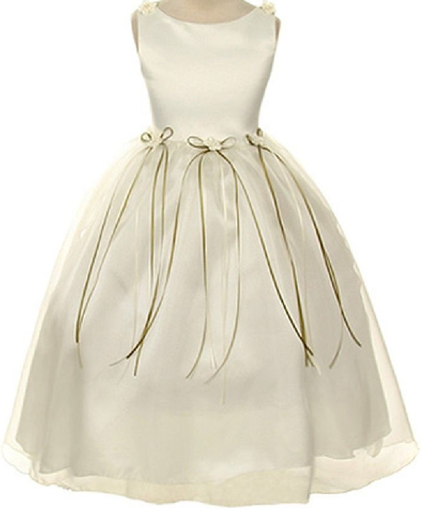 Rosebud Flower Bow Ribbons Little Girl Flower Girls Dresses
