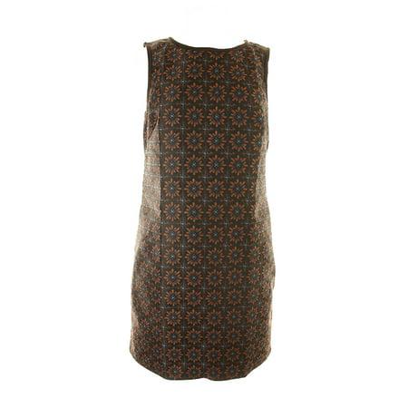 Front Jacquard Dress - Studio M Wood Brown Floral-Print Jacquard Sheath Dress L