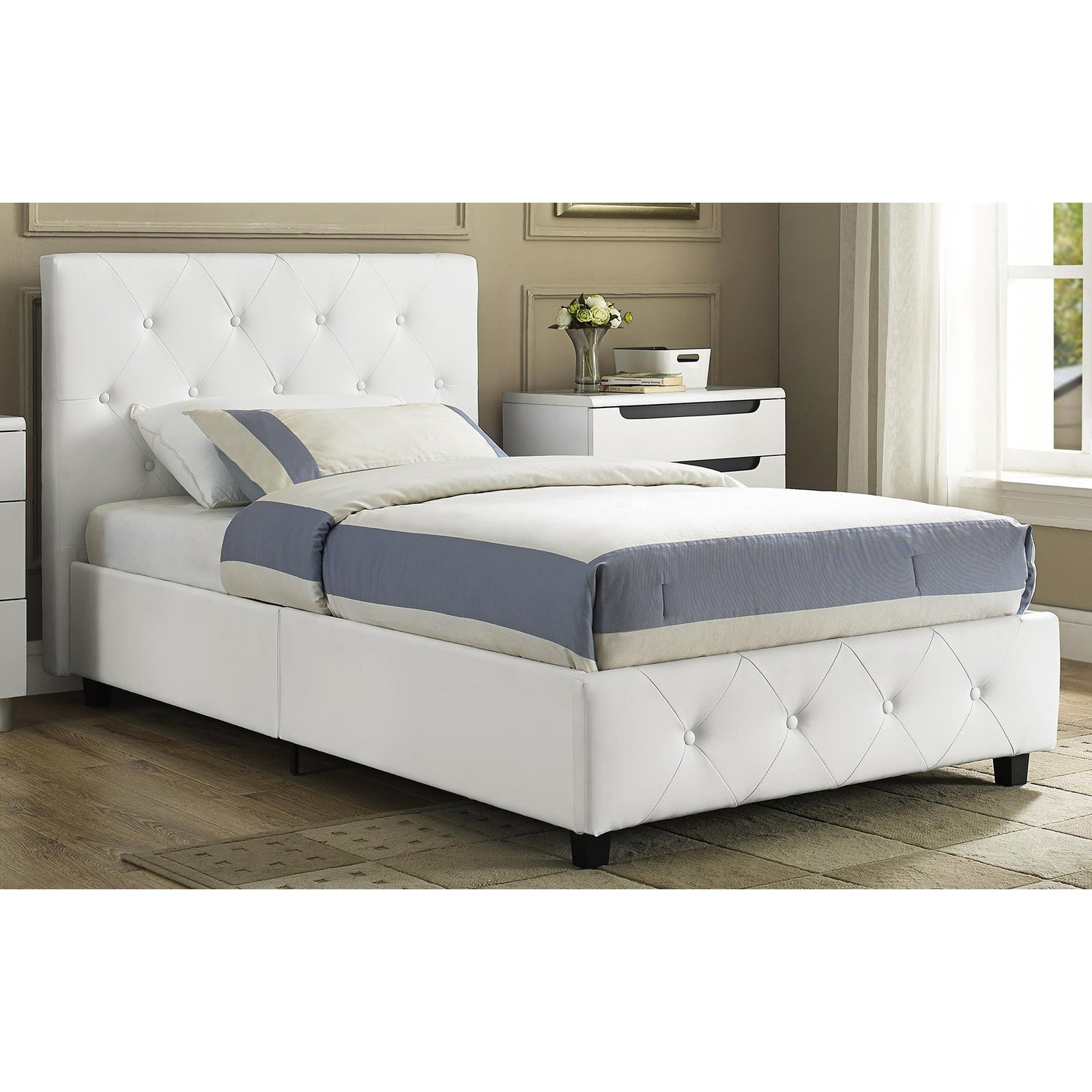 Wonderful Leather Twin Bed Part - 6: DHP Dakota Faux Leather Upholstered, Multiple Colors, Multiple Sizes -  Walmart.com