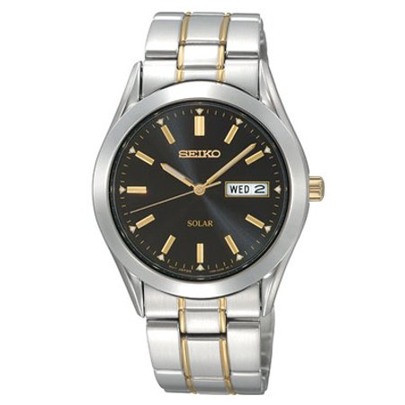Seiko Solar Mens - Black Dial - Two-Tone - 10 Month Power Reserve - Day-Date
