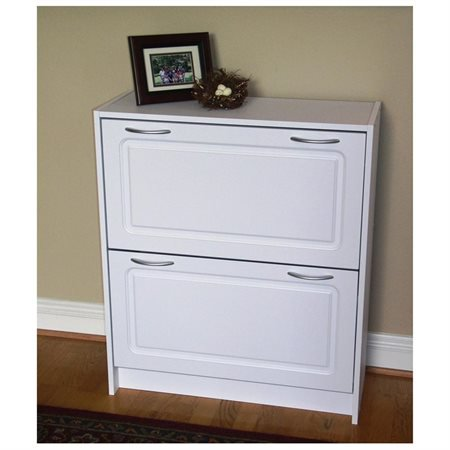 Entryway White Finish Deluxe 2 Doors Double Shoe Cabinet