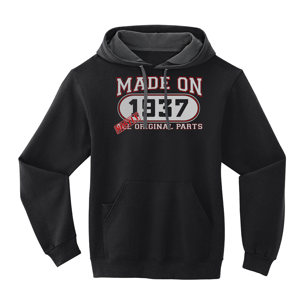 79th Birthday Hoodie -  Mostly Original Parts - Born 1937 - Black - X-Large