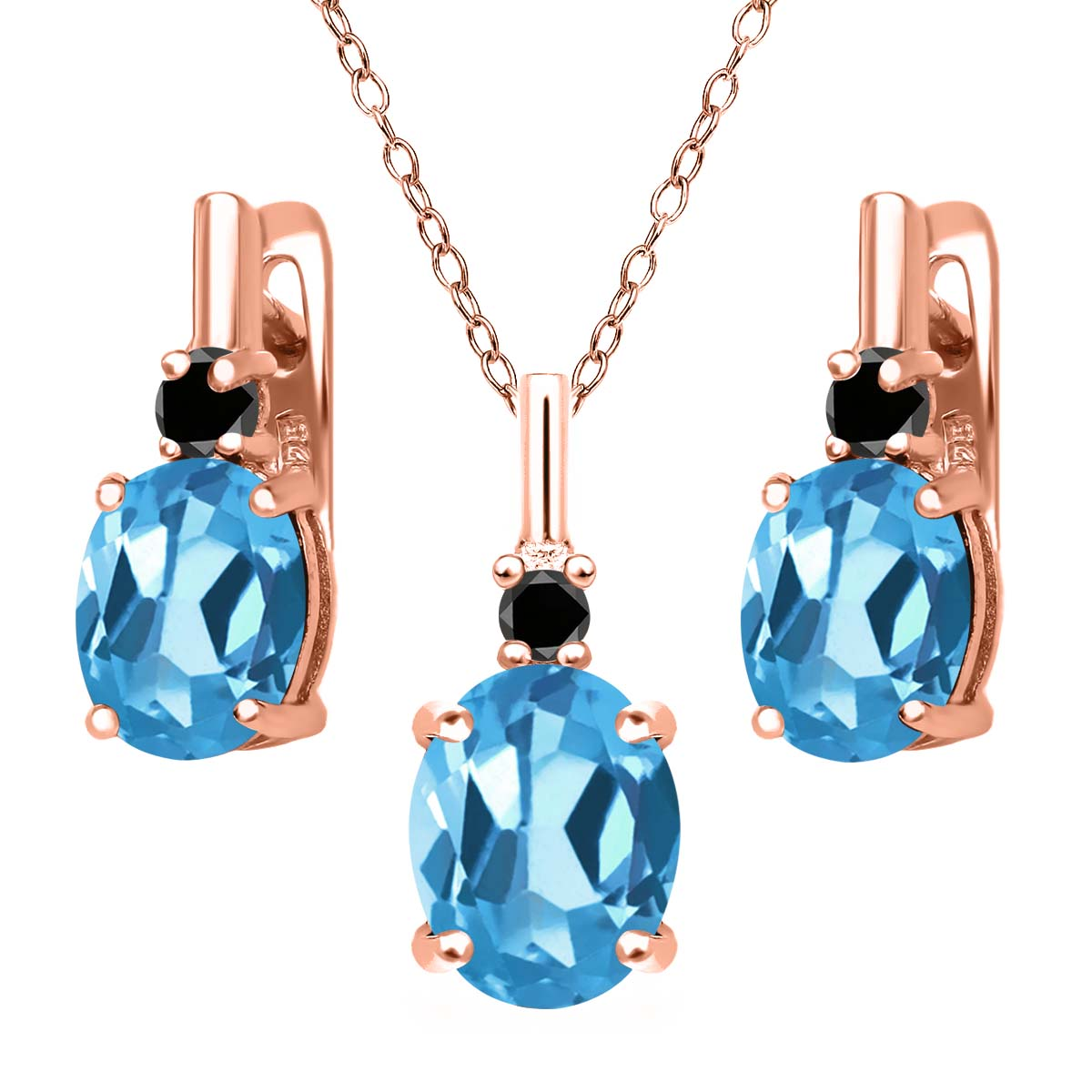 6.67 Ct Swiss Blue Topaz Black Diamond 18K Rose Gold Plated Silver Pendant Earrings Set by