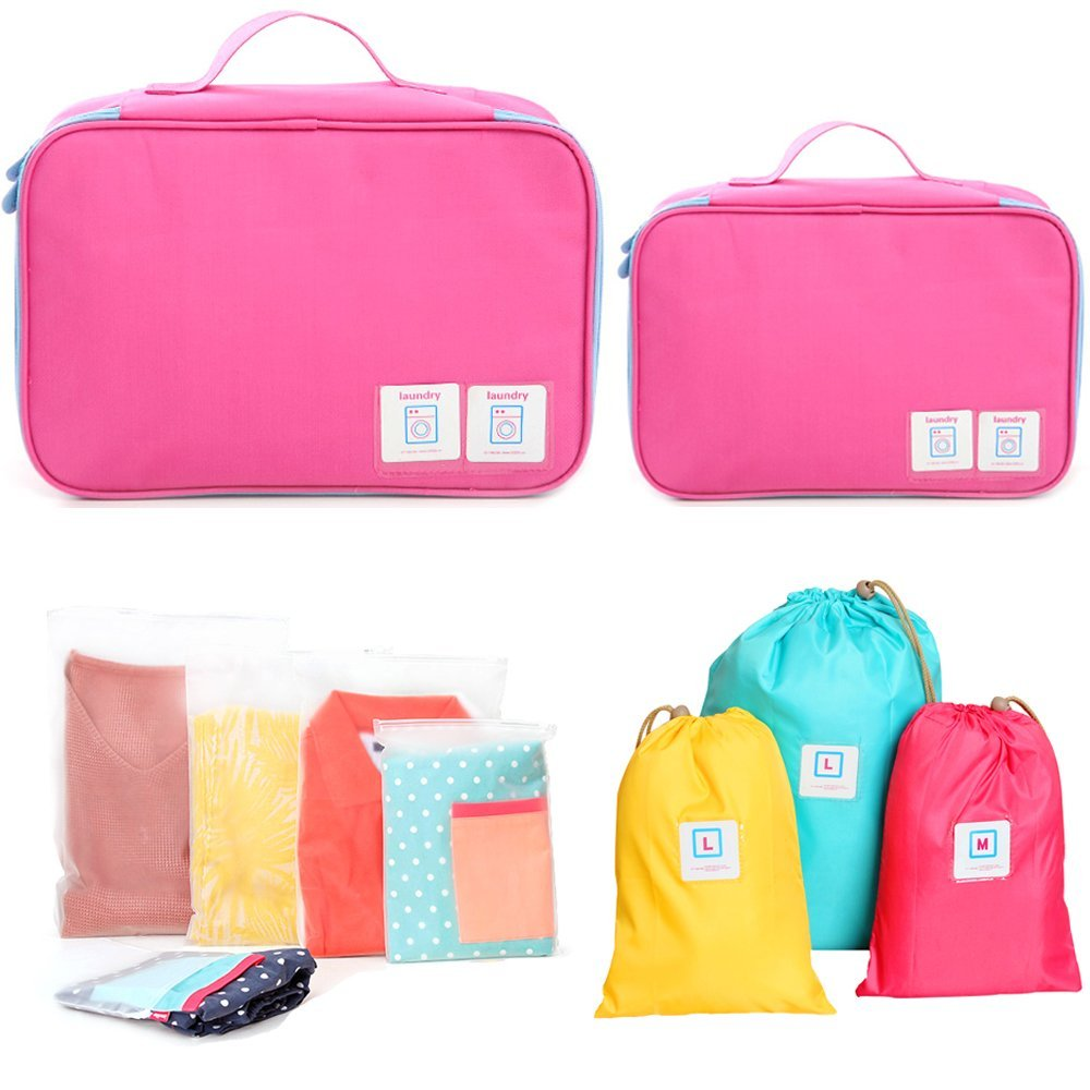 Set of 10 FAMILIFE Packing Cube Set for Travel, with Laundry Bag, Shoes Bag, Waterproof Organizer Bags (Pink)