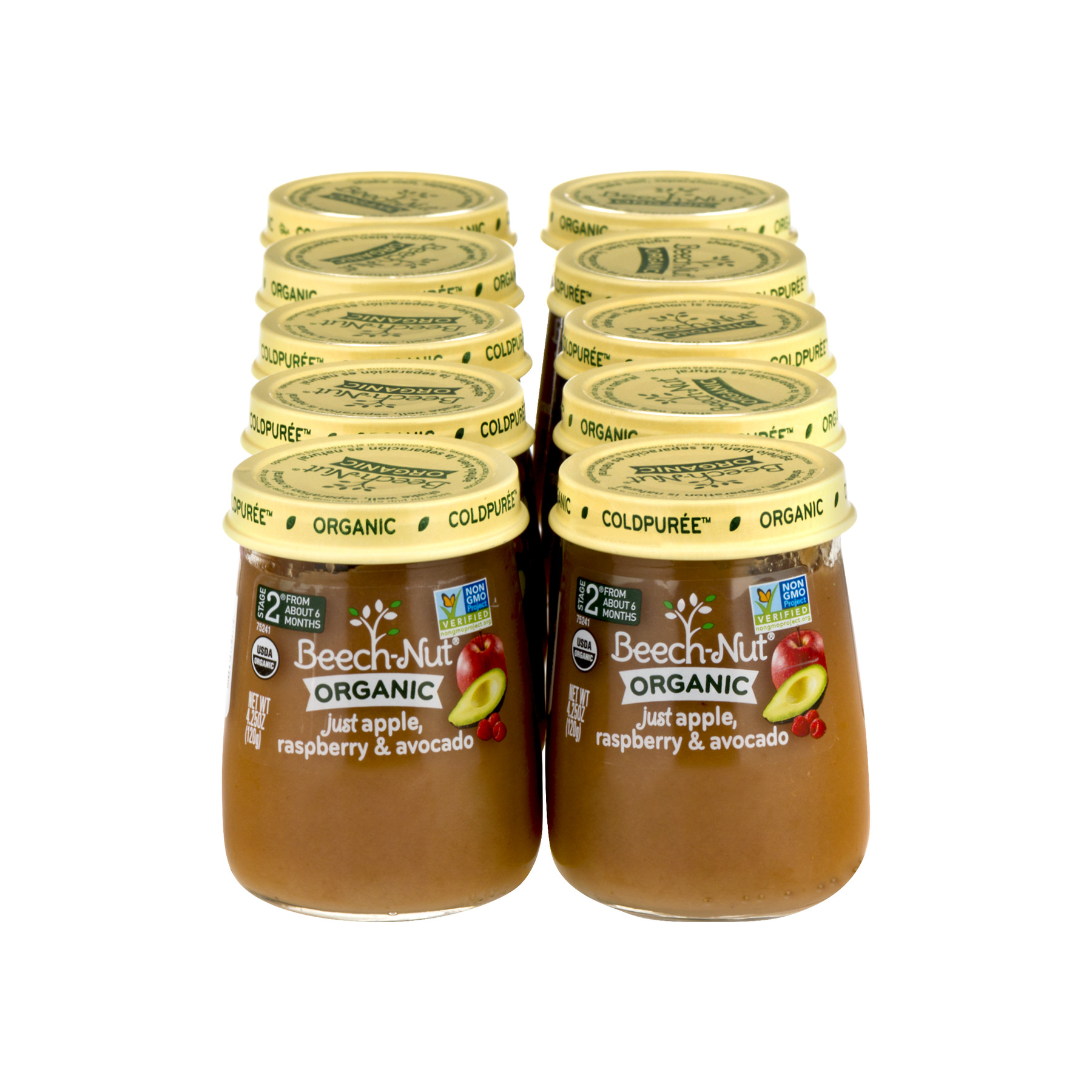 Beech-Nut Organic Stage 2 Just Apple, Raspberry & Avocado Stage 2 Baby Food, 4.25 oz, (Pack of 10)