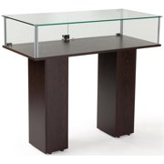 Free-Standing Tempered Glass Display Case, with 2 Pedestal Style Legs And Wenge Veneer (PJC46920WG)