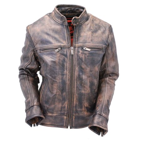 0071569b0 Vintage Brown Vented Leather Motorcycle Scooter Jacket w/Gun Pockets  #M1550VZGN