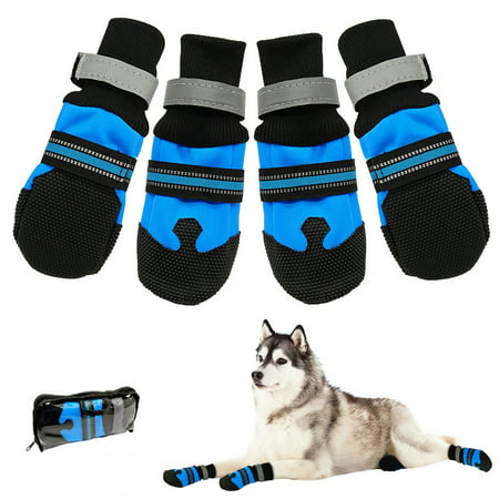 Waterproof Pet Shoes Boots,Breathable Paw Sole Protectors with Reflective, Rugged Anti-Slip Water Resistant for Small Medium Large