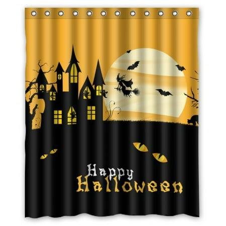 GreenDecor Happy Halloween Waterproof Shower Curtain Set with Hooks Bathroom Accessories Size 60x72 inches](Halloween Shower Curtain Set)
