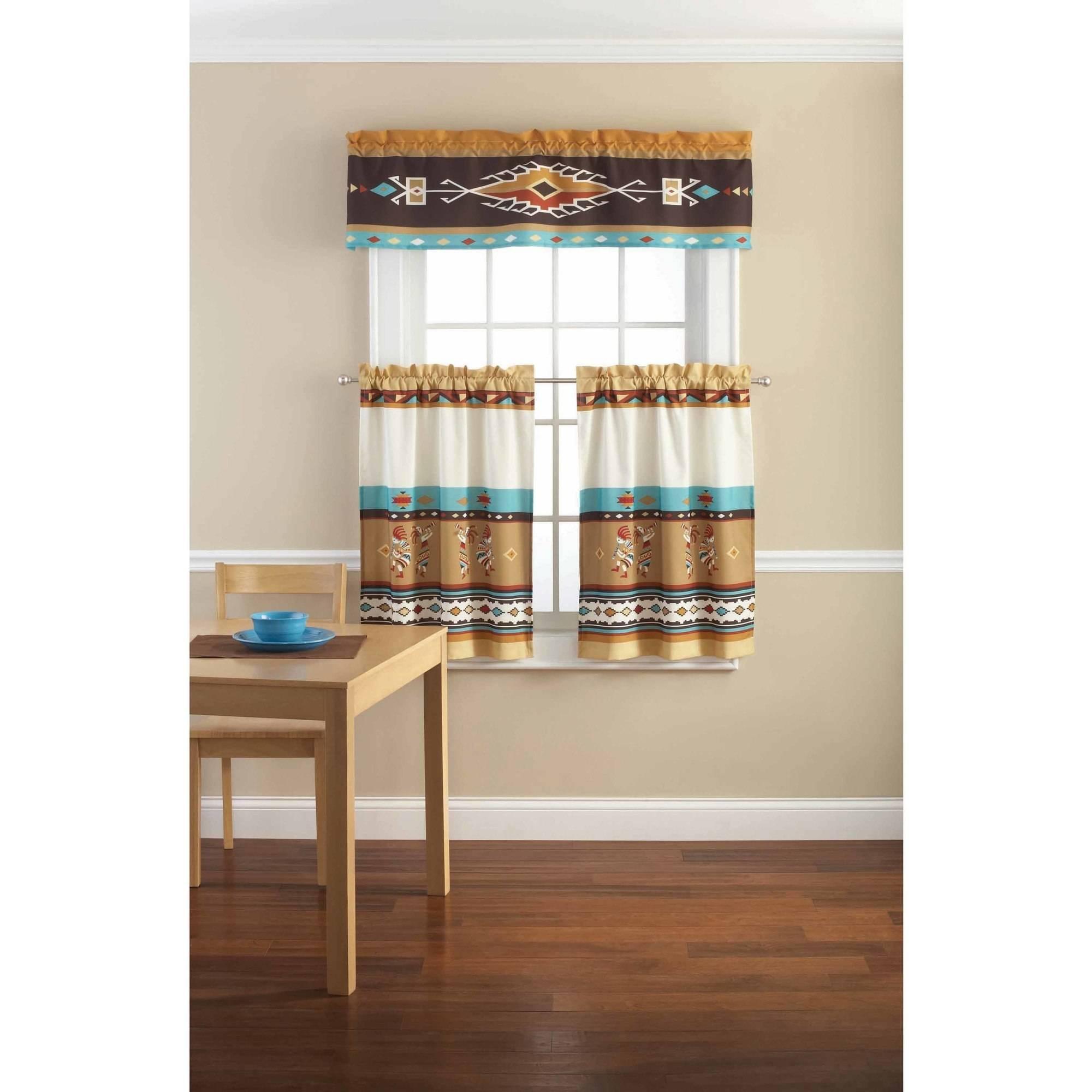 Mainstays Kokopelli Printed Valance And Kitchen Curtains Set
