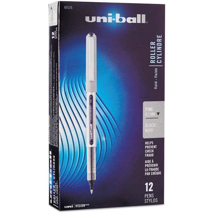 Uni-ball Vision Roller Ball Stick Water-Proof Pen, Fine Point, Pack of 12