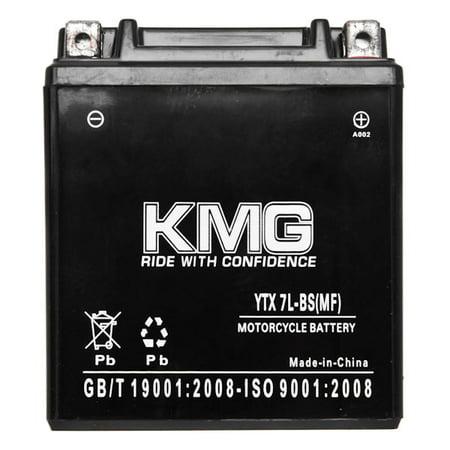 KMG 12V Battery for Honda 250 CMX250C Rebel 1996-2011 YTX7L-BS Sealed Maintenace Free Battery High Performance 12V SMF Replacement Powersport Battery - image 2 de 3