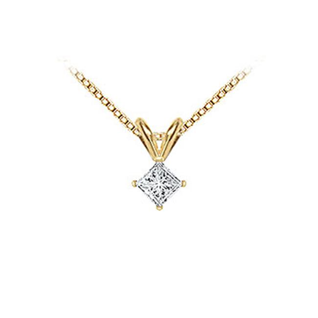 Fine Jewelry Vault SCPD14YGSQ025D 14K Yellow Gold - Princess Cut Diamond Solitaire Pendant - 0. 25 CT.  TW.
