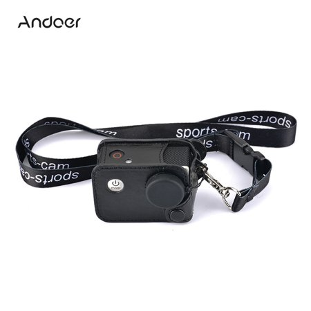 Andoer Multifunctional Clip-on Sports Camera Protecive Carrying Hanging Case Bag with Neck Lanyard Lens Cap for SJCAM SJ4000 SJ5000 or the Same Size Action
