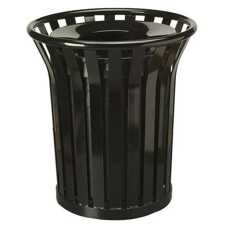 Rubbermaid Commercial, RCPMT32PLBK, Americana Steel Waste Receptacle, 1 Each, Black