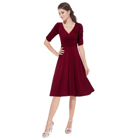 68fa466216d Ever-pretty - Ever-Pretty Women s Elegant Knee Length Half Sleeve V-Neck Cocktail  Dresses Party Dresses for Women 03632 (Burgundy 4 US) - Walmart.com