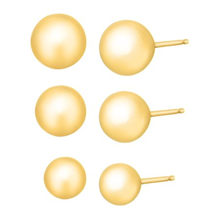 4-6 mm Ball Stud Earring Set in 14kt Yellow Gold