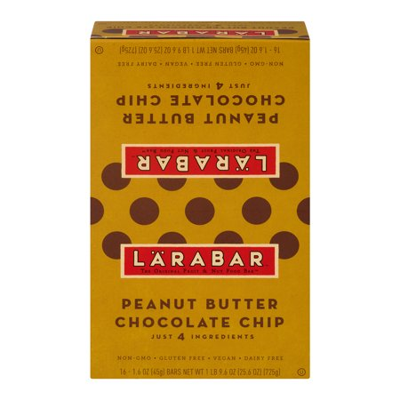 Larabar Gluten Free Bar, Peanut Butter Chocolate Chip, 1.6 oz Bars (16 Count), 1.6 OZ