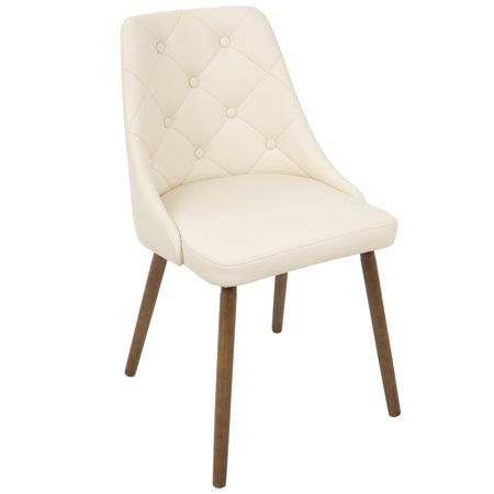 Giovanni Mid-Century Modern Dining Chair in Walnut and Cream Quilted PU by LumiSource ()