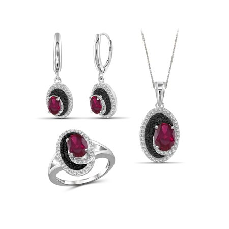 4 3/4 Carat T.G.W. Ruby And Black & White Diamond Accent Sterling Silver 3-Piece Jewelry set