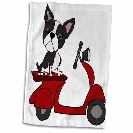 3dRose Funny Cute Boston Terrier Dog Riding red Motor Scooter Art - Towel, 15 by 22-inch ()