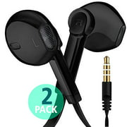 Earphone Headphones, Premium Stereo Earbuds with Microphone, Volume Control, Tangle Free Corded Headphones with 3.5mm Port for PCs, Laptop, Tablet, Mobile Digital Devices, Audio Players 2-Pack