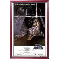 FRAMED Star Wars - A New Hope (Style A) 24x36 Poster Dry Mounted in Executive Series Two-Tone Mahogany Wood Frame With Beaded Lip - Crafted in USA