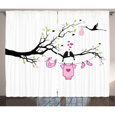 Gender Reveal Curtains 2 Panels Set, Newborn Girl Announcement Design with Birds on the Branch Hearts Love, Window Drapes for Living Room Bedroom, 108W X 108L Inches, Pink Lime Black, by Ambesonne