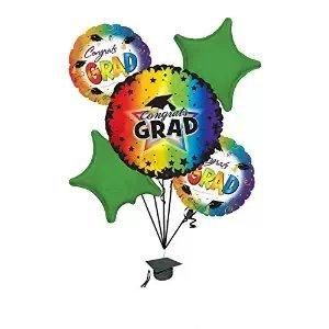 "Graduation ""Congrats Grad"" Purple Rainbow Balloon Bouquet"