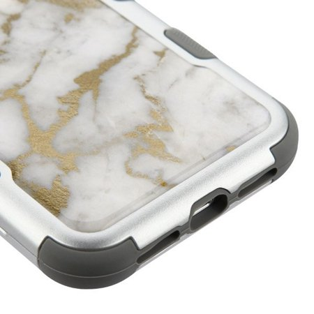 Insten Tuff Krystal Gel Marble Dual Layer [Shock Absorbing] Hybrid Hard Plastic/Soft TPU Rubber Case Cover For Apple iPhone XR, Gray/Gold - image 2 of 5