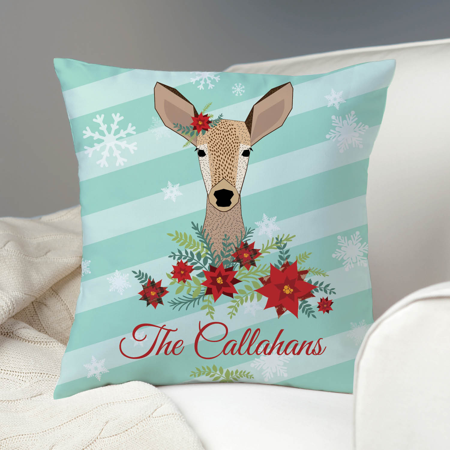 Doe A Deer Personalized Throw Pillow