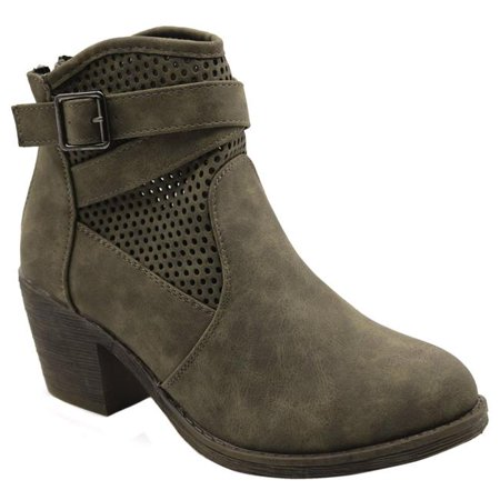 Jesco Footwear L-3770-320-8.5 Guba-3 Blue Womens Low Heel Mid Calf Lace Up Side Zip Fashion Boots - Olive, Size (The North Face Greenland Zip Footwear)