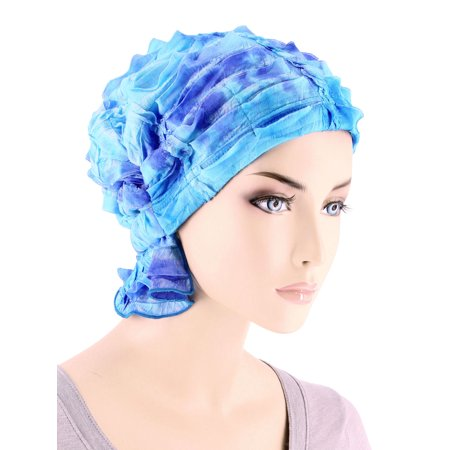 Turban Plus The Abbey Cap ® Womens Chemo Hat Beanie Scarf Turban for Cancer Ruffle Embroidered Blue Tie-Dye