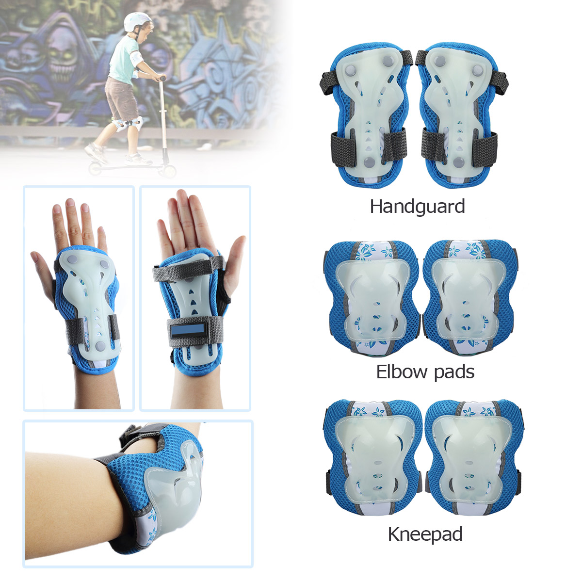 6PCs Kids Sport Skate Cycle Children Ski Knee Elbow Wrist Guard Protective Gear